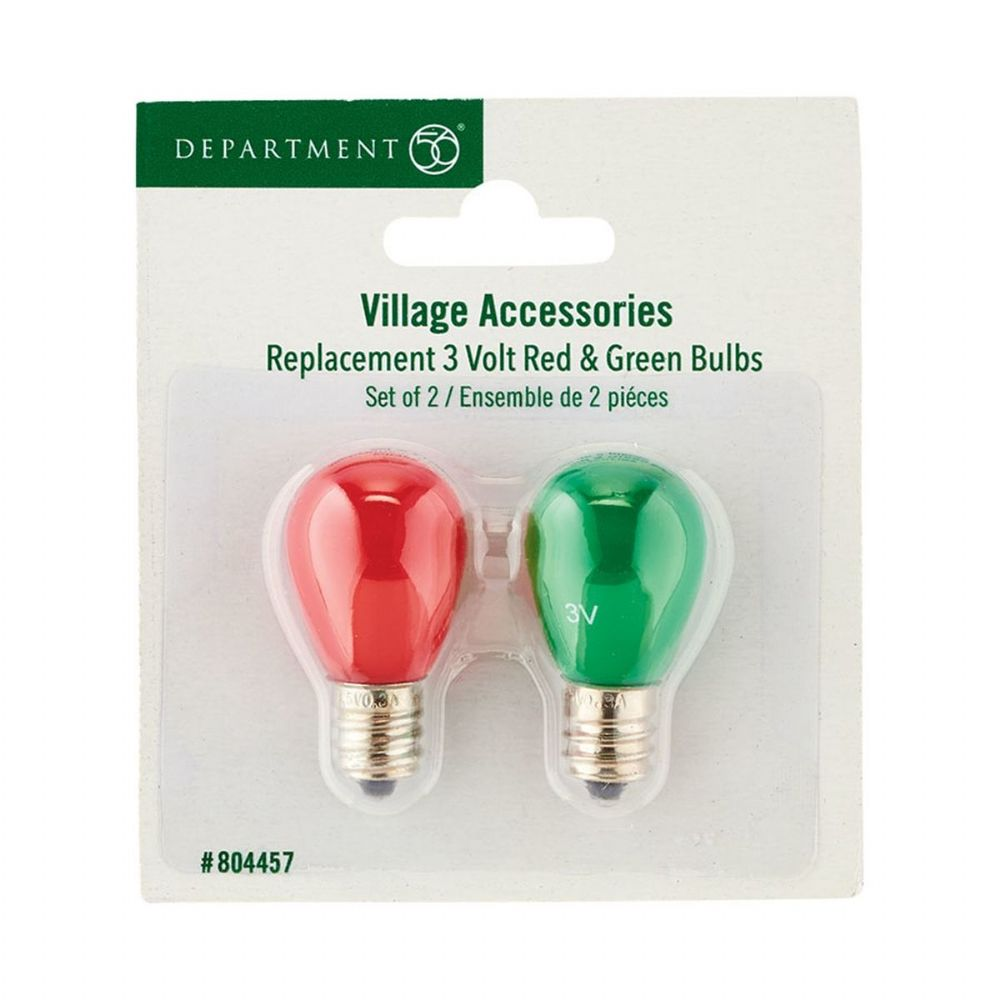 Department 56 Red and Green Replacement Village Bulbs 804457